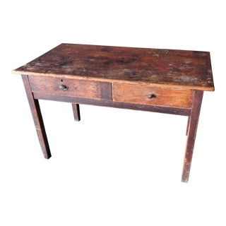 19th Century Primitive Pine Work Table With Drawers For Sale