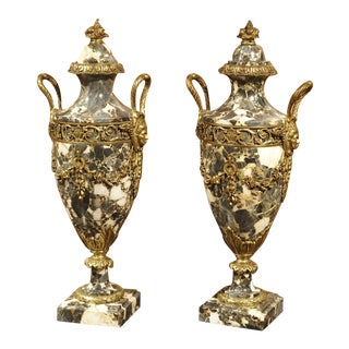 Pair of Gilt Bronze and Marble Cassolettes from France, Circa 1870