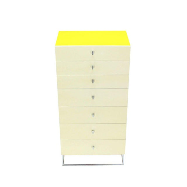 Metal Seven Drawer Tall Yellow and White Lacquer Floating Lingerie Chest For Sale - Image 7 of 7