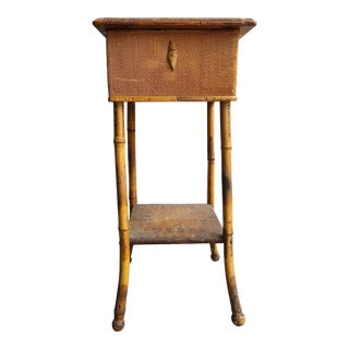 Antique Bamboo and Grasscloth Sewing Side Table For Sale