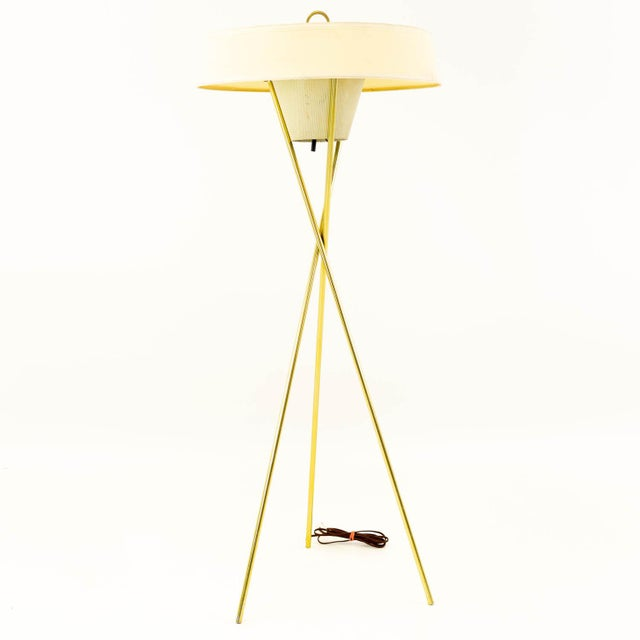 Gerald Thurston for Lightolier Mid Century Brass Tripod Floor Lamps - Pair For Sale In Chicago - Image 6 of 8