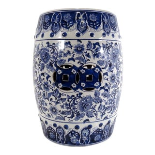 Vintage Blue & White Asian Chinese Porcelain Garden Stool For Sale