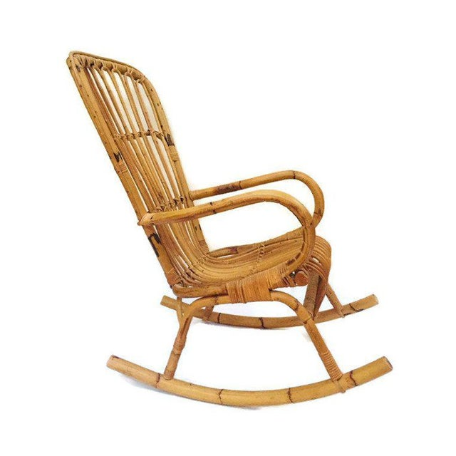 Brown Mid Century Sculpted Bamboo Rocking Chair High Back Franco Albini Style Rocker For Sale - Image 8 of 11