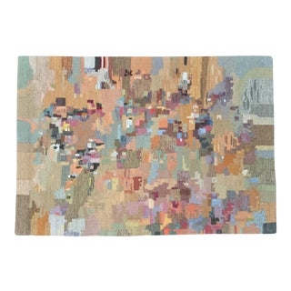 """Vintage Abstract Handmade Fiber Art Wall Hanging - 3'10"""" X 2'8"""" For Sale"""