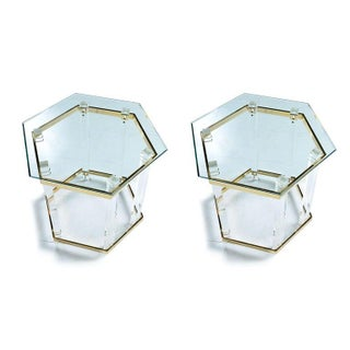 Vintage 1970s Hollywood Regency Acrylic Lucite Glass and Brass End Tables Preview