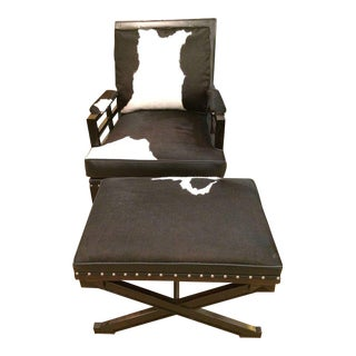 Leather Cowhide Club Chair & Ottoman For Sale