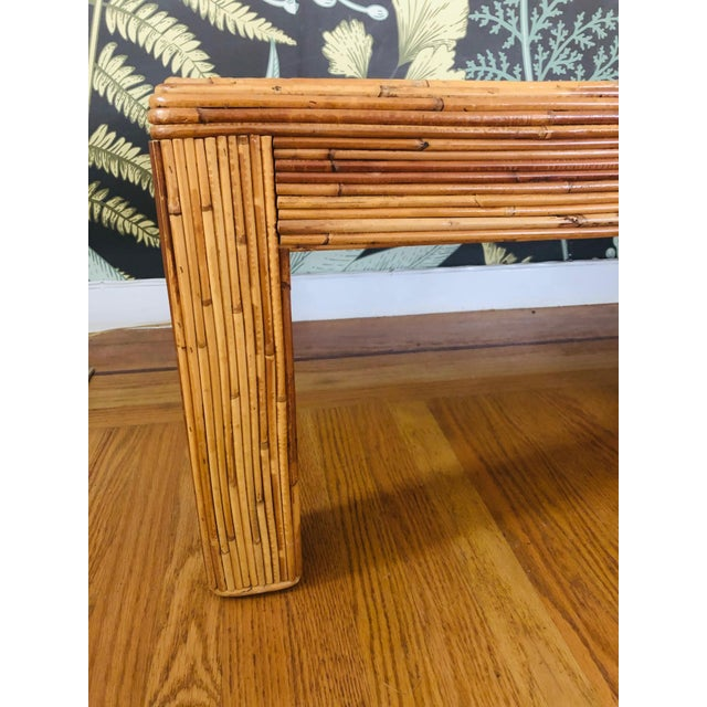 Vintage Split Reed Bamboo Coffee Table For Sale - Image 9 of 11