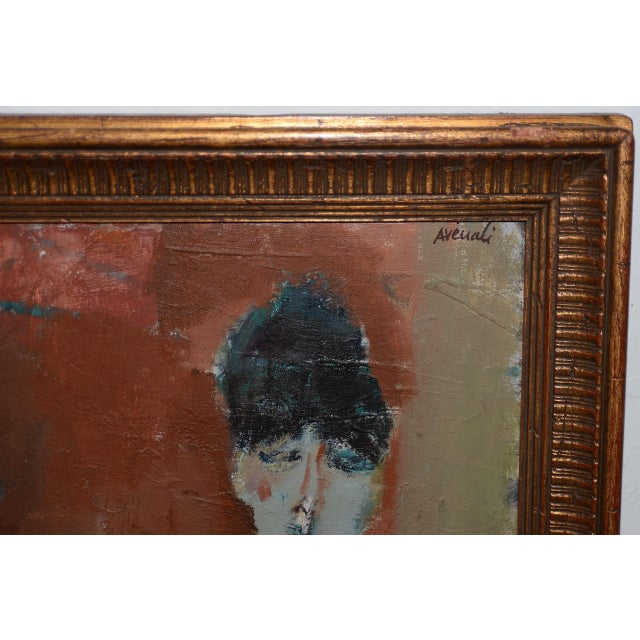 1950s Marcello Avenali (Italy, 1912-1981) Portrait of Young Woman Oil Painting C.1950s For Sale - Image 5 of 8