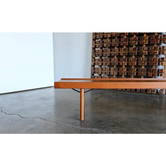 "Danish Modern 1960s Vintage Teak ""Krobo'' Bench by Torbjørn Afdal for Bruksbo For Sale - Image 3 of 11"
