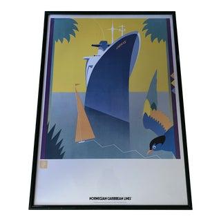 1980s Norwegian Caribbean Lines Travel Poster, Framed For Sale
