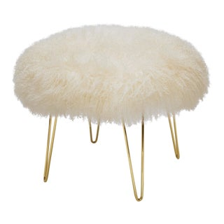"""Warm White Curly Hairpin Brass 24"""" Ottoman For Sale"""