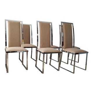 1970s Milo Baughtman Style Chrome Dining Chairs Set of - 6 For Sale