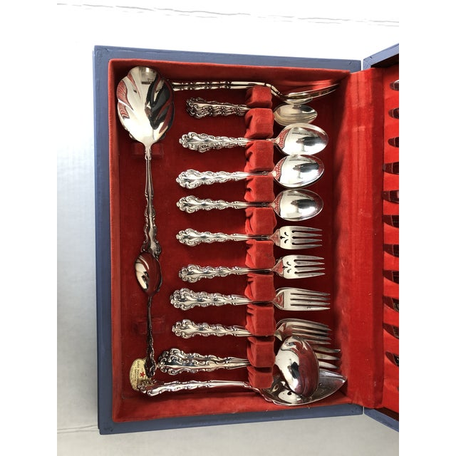Vintage Community Silver Plate Modern Braque Pattern 63 Pcs / Hand Painted Flatware Box For Sale In New York - Image 6 of 8