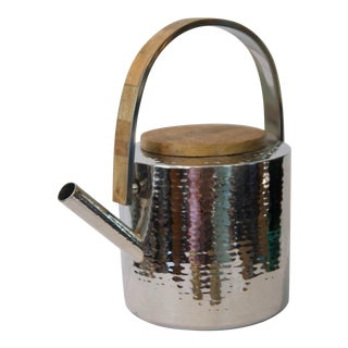 Indian Hand-Hammered Steel Tea Pot With Wood Inlay For Sale
