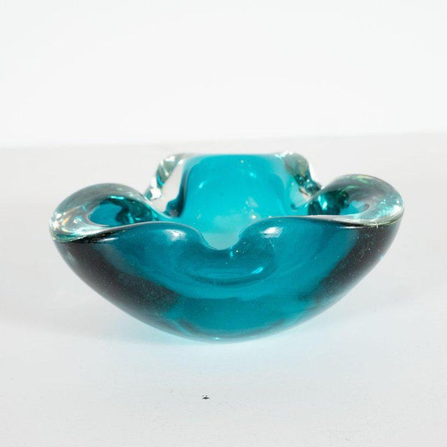 Mid 20th Century Mid-Century Modern Hand Blown Murano Turquoise and Clear Glass Bowl / Ashtray For Sale - Image 5 of 6