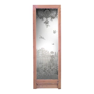 French Louis XVI Pine and Etched Glass Door For Sale