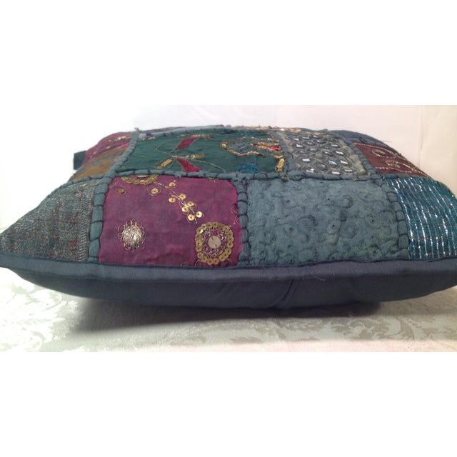 Boho Tribal Block Print Textile Artistic Pillow - Image 3 of 5