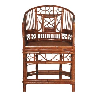 Tortoise Shell Bamboo Brighton Chair with Cane Seat For Sale