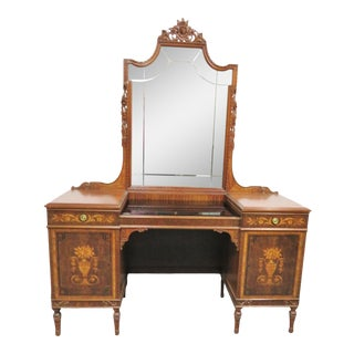 French Walnut Inlaid Satinwood Vanity For Sale