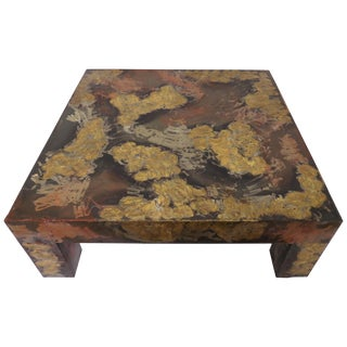 Brutalist Patinated Metal Parsons Style Coffee Table in the Manner of Paul Evans For Sale