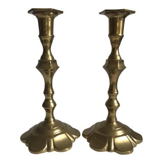 Vintage Brass Candle Sticks - a Pair For Sale