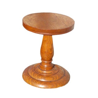 Large Antique Oak Pedestal Store Display/ Hat Stand For Sale