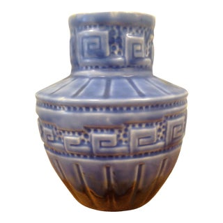 Greek Key Studio Pottery Vase For Sale