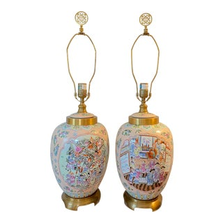 1970s Maitland-Smith Chinoiserie Ceramic Lamps - a Pair For Sale