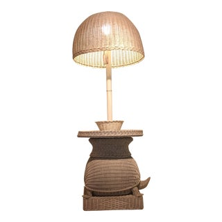 Hollywood Regency Wicker Turtle Table Lamp