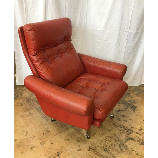 Mid-Century Modern 1960s Mid Century Modern Red Leather Swivel Chair For Sale - Image 3 of 9