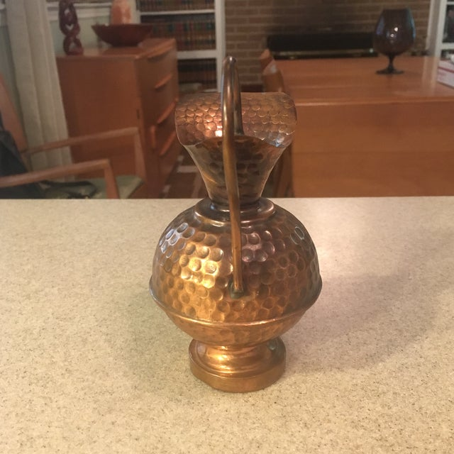 Hammered Copper Small Decorative Pitcher For Sale - Image 5 of 8