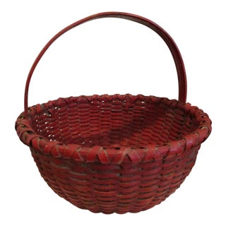 1800s Shaker Paint Decorated Woven Splint Gathering Basket For Sale
