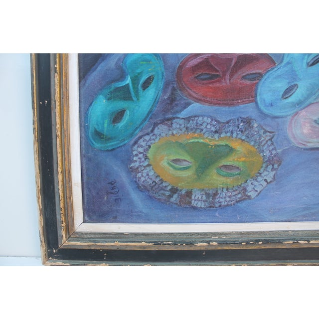 Mid-Century Masks Painting For Sale In Miami - Image 6 of 10