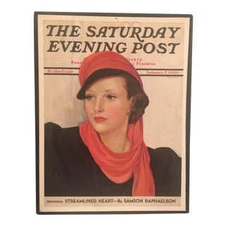 1939 Vintage the Sunday Evening Post Magazine Cover For Sale