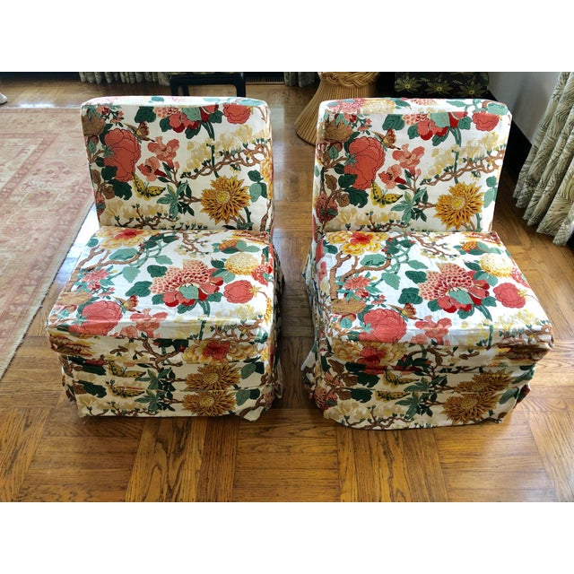 Floral Slipper Chairs - A Pair For Sale - Image 9 of 9