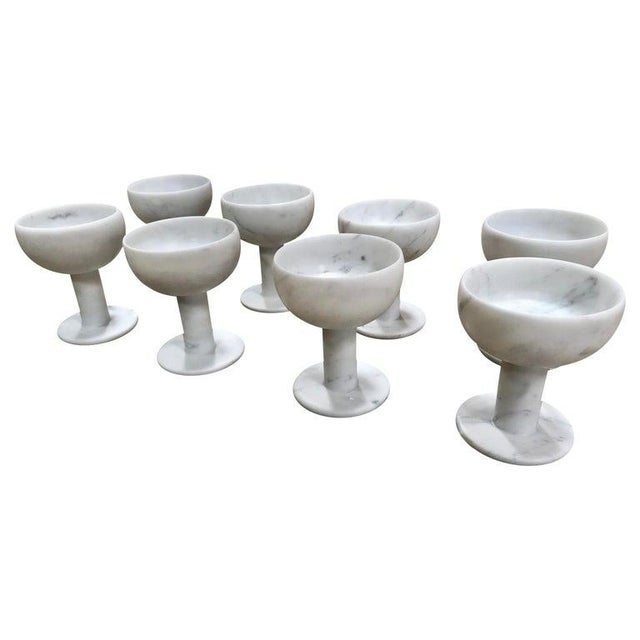Carrara Marble Chalices, Italy - Set of 8 For Sale - Image 11 of 11