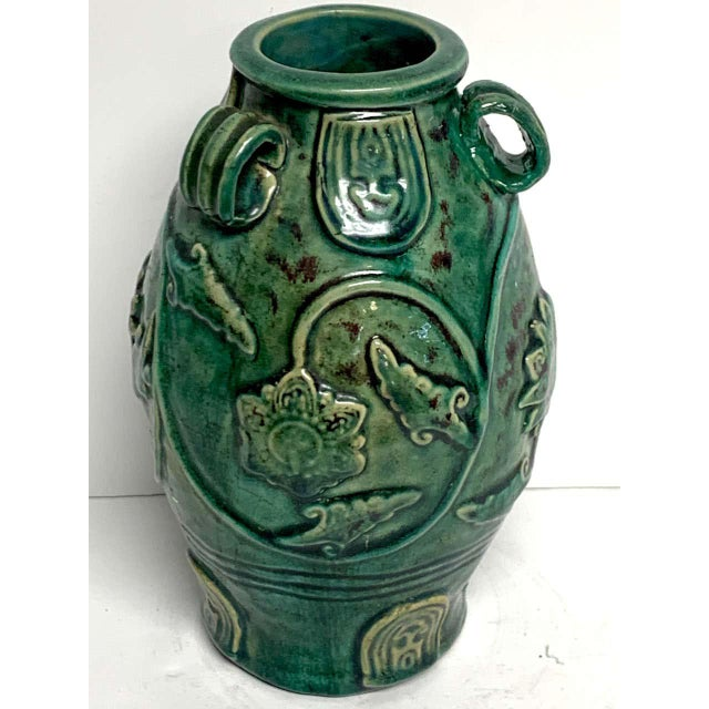 Ceramic Chinese Green Glazed Lotus Motif Vase For Sale - Image 7 of 10