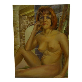 "Original Tom Sturges Jr. ""Sitting Nude"" Painting on Board"