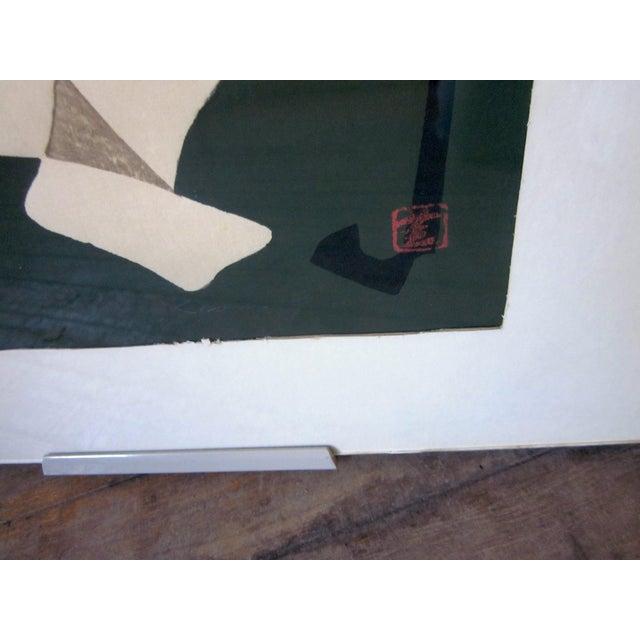 "1950s 1950s Vintage Kaoru Kawano ""Conversation"" Signed Japanese Woodblock Print For Sale - Image 5 of 7"