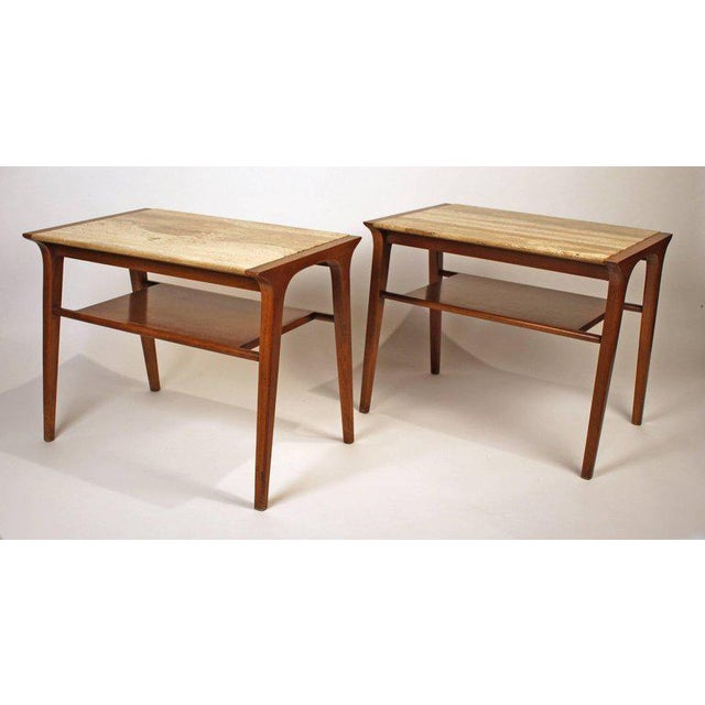 1960s John Van Koert Walnut and Travertine Side Tables for Drexel For Sale - Image 5 of 10