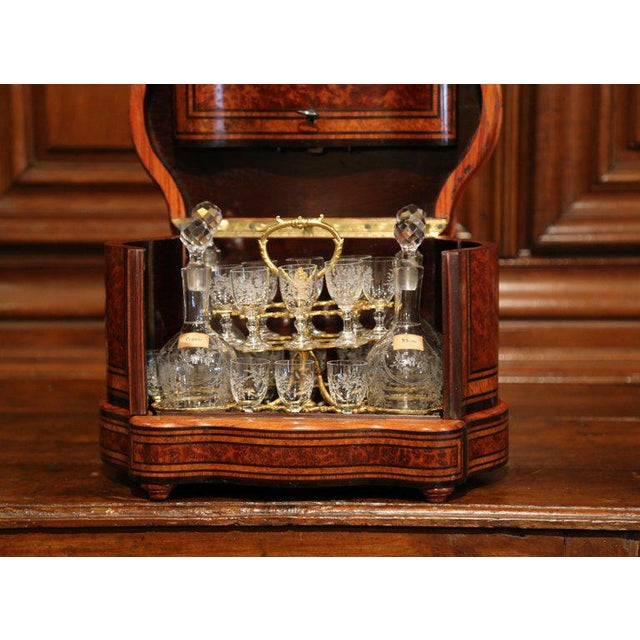 Late 19th Century Important 19th Century French Napoleon III Walnut & Burl Cave a Liqueur Tantalus For Sale - Image 5 of 11