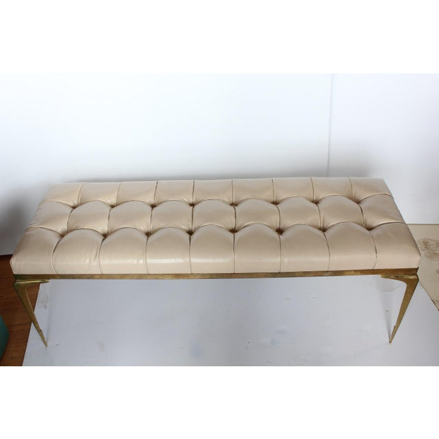 Mid Century Italian Brass and Leather Bench For Sale - Image 4 of 5
