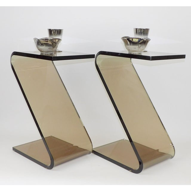 """Shlomi Haziza Acrylic Bent Lexan Lucite """"Z"""" End Tables / Nightstands - a Pair For Sale - Image 5 of 12"""
