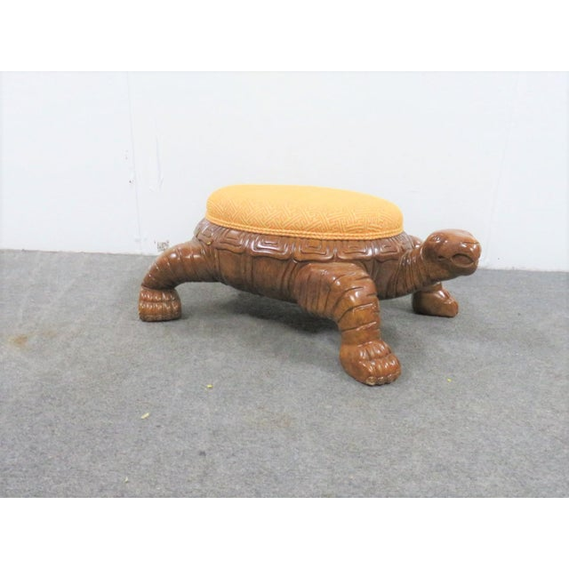 Contemporary Carved Sea Turtle Ottoman For Sale - Image 3 of 7