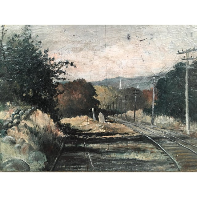 19th Century Small Landscape Painting with Railroad Tracks and Telegraph Poles For Sale - Image 9 of 10