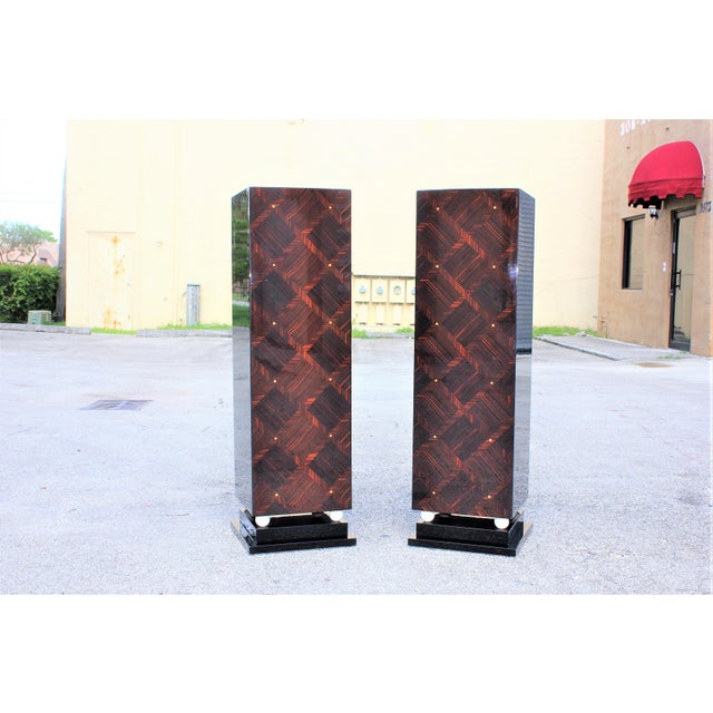 1940s French Art Deco Exotic Macassar Ebony Pedestals M-O-P Accents - a Pair For Sale - Image 13 of 13