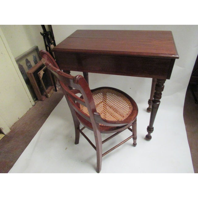 1930s Children's Spinet Flip Top Walnut Writing Desk with Caned Chair For Sale In Houston - Image 6 of 13
