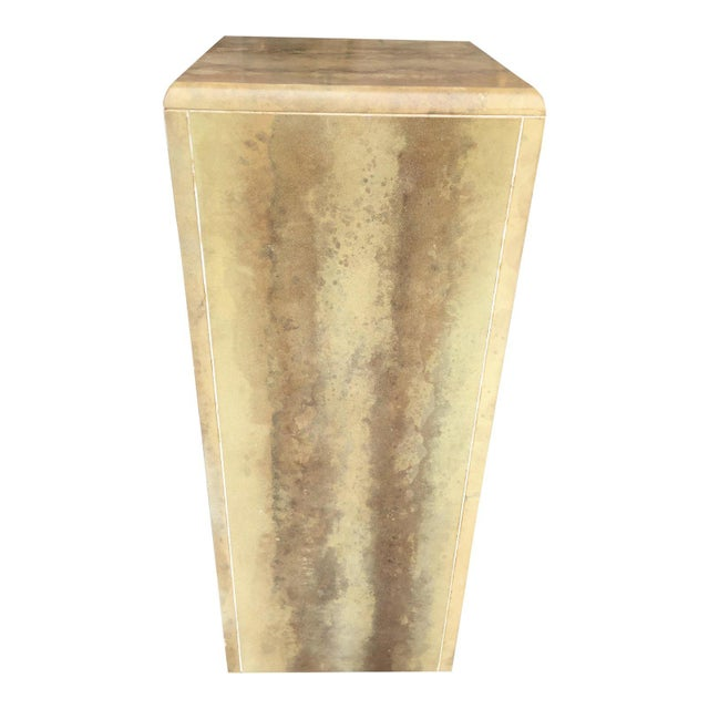 Wood Faux Leather Painted Pedestal For Sale - Image 7 of 7