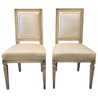 Maison Jansen Style Dining Chair Faux Linen Paint Decorated With New Upholstery 10 Available For Sale