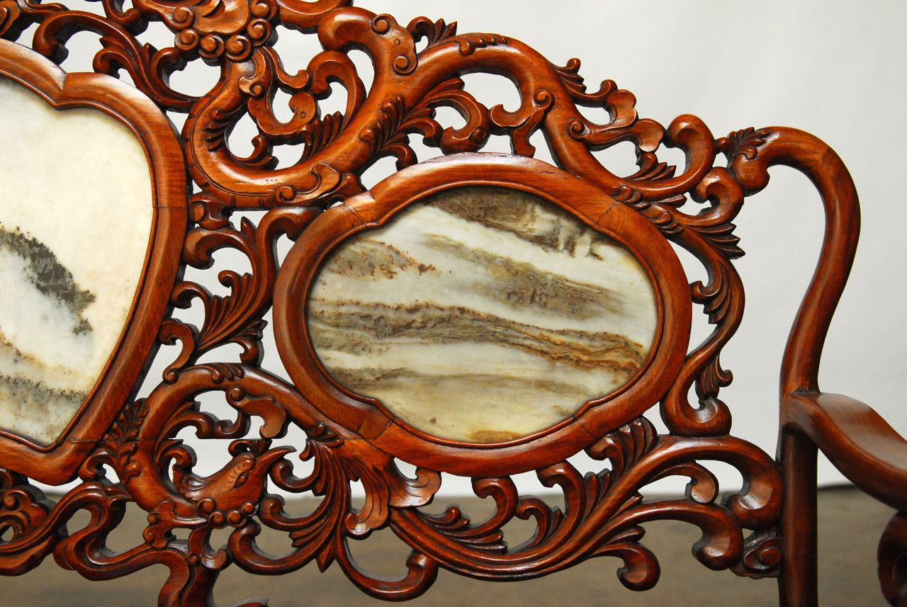 Chinese Rosewood Marble Dali Carved Sofa Bench   Image 4 Of 11